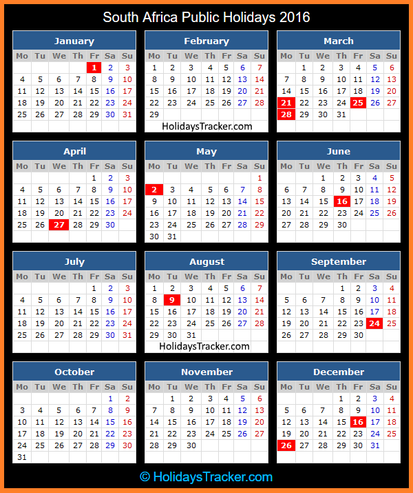South African Calendar 2016 With Public Holidays