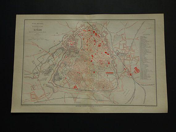 LILLE old map 1877 large original antique city by VintageOldMaps