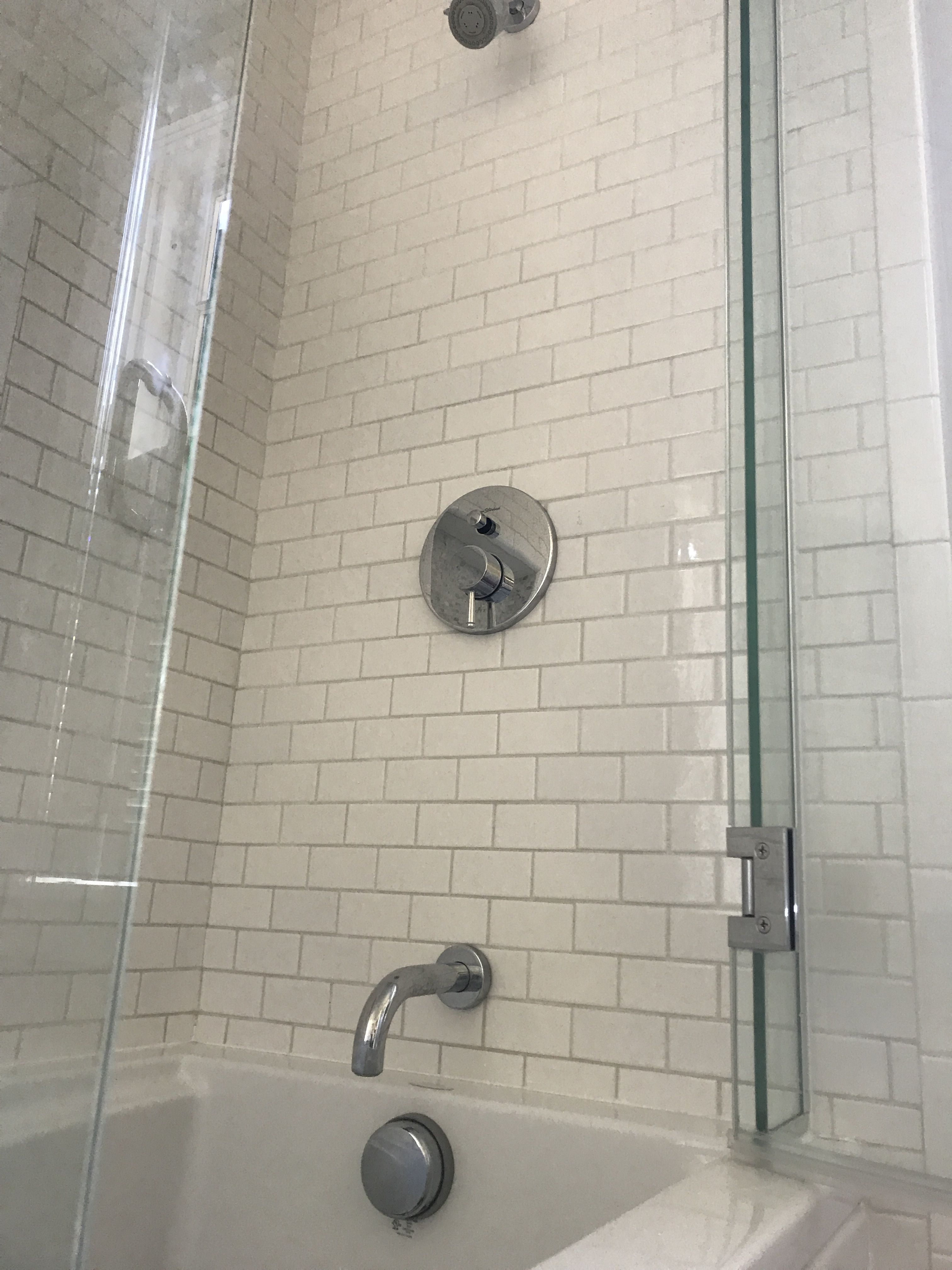 Custom tub/shower tile with American Standard Serin faucetry | Our ...