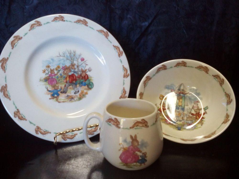 Vintage Childrens Plate Saucer Cup Cereal Bowl English Bone China Dinnerware Americana Antique Plates Plates Antique Ceramics