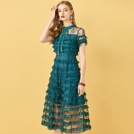 Cake Lace Ruffles Vintage Midi Dress   #minidress #vintagedresses #DailyCasual #Holiday #Partywear #nightout #Bohemian #Elegant #Fashionstyle #casualdress