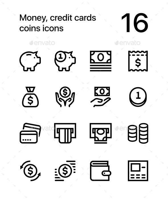 Money, Credit Cards, Coins, Wallet Vector Flat Line Icons