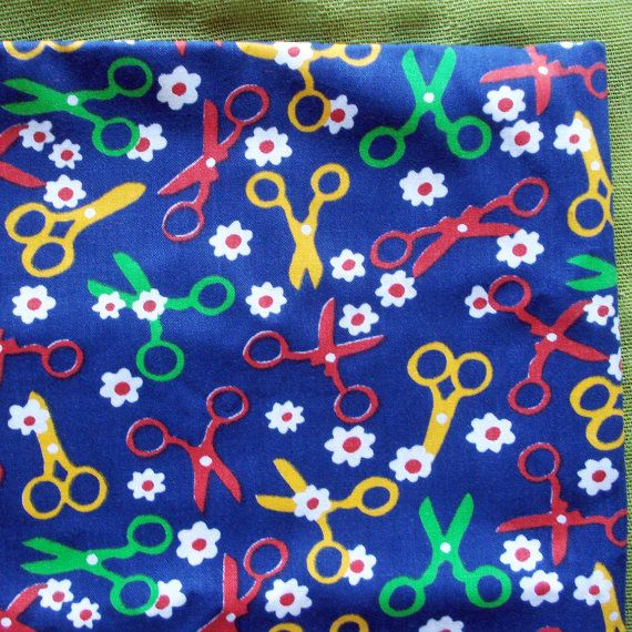 60s Vintage Cotton Fabric  Sewing Scissors and by SelvedgeShop, $12.00