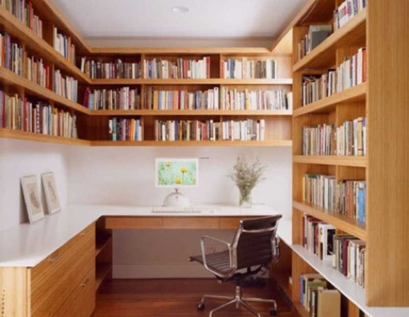 Office Shelving Ideas Part - 24: Furniture, Wooden U Shape Home Library Shelving In Home Office Ideas Bright  Color Of Home