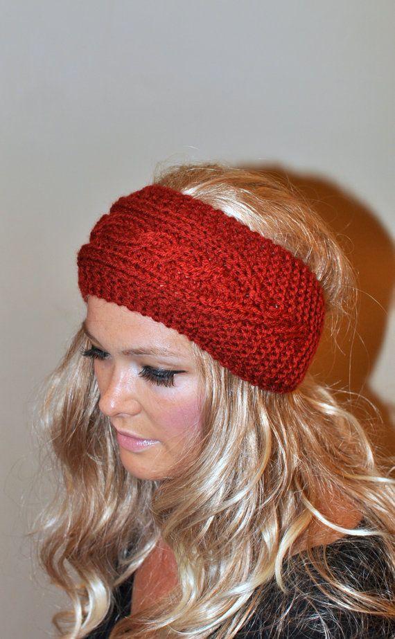 Ear Warmer Crochet Headband Head wrap Earwarmer Brick Fall Autumn ...