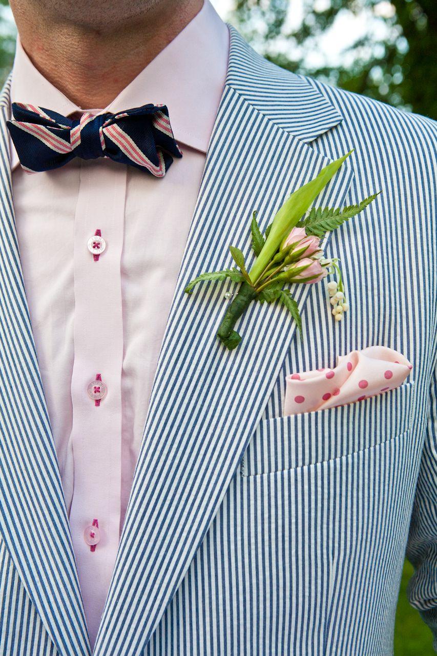 blue, boutonnieres, Elegant, Flowers, green, groom, pink, seersucker ...