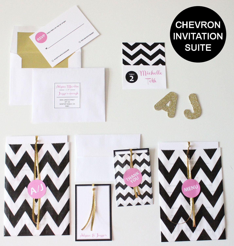 Black and white chevron invite. Love this design. Especially with ...