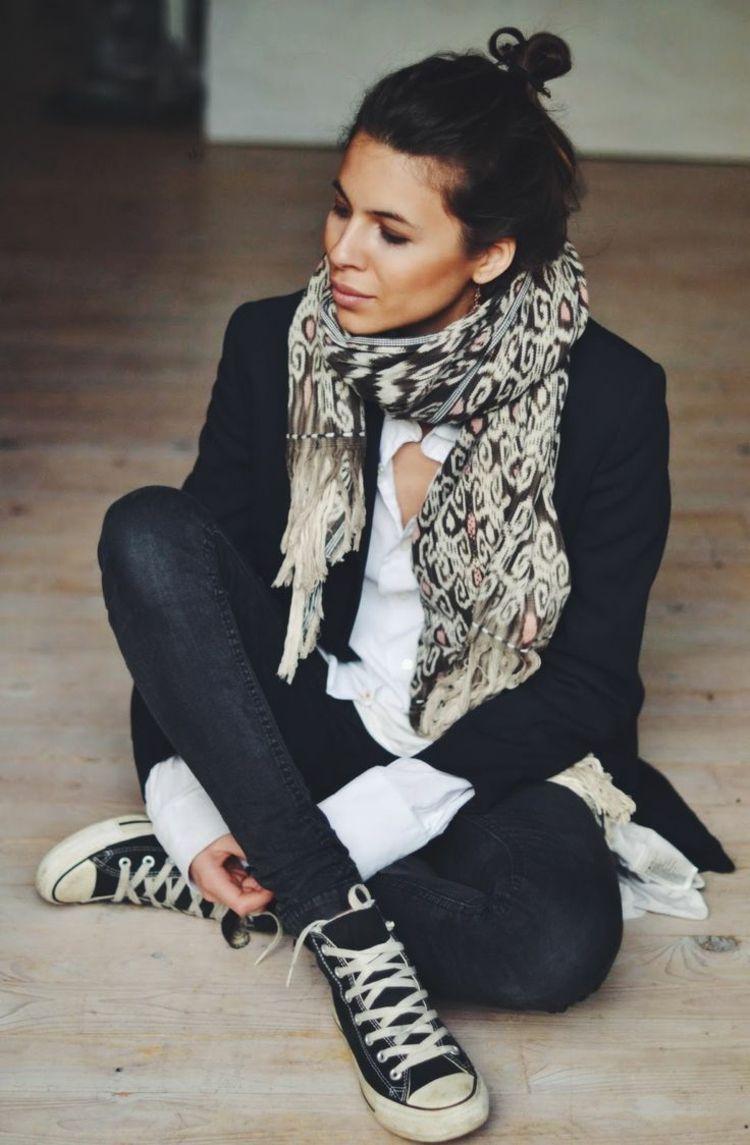 Klassische Chucks In Schwarz Kombiniert Mit Blazer Sonne Anne Sf8008 Camel Premium Lady Comfort Casual Leather Sandal