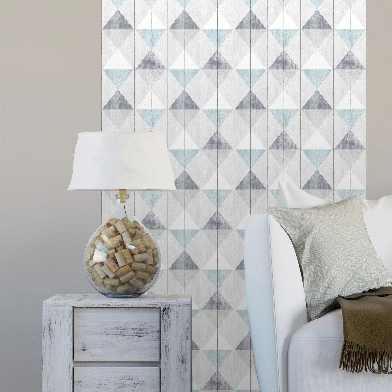 Decoller Papier Peint Intissé papier peint vinyle sur intissé planches triangles bleu