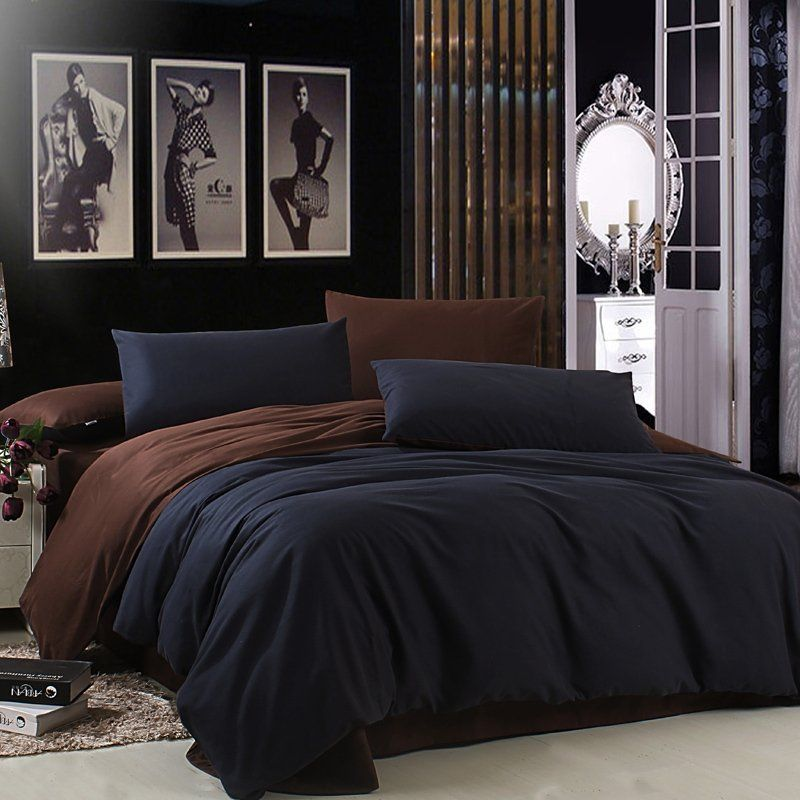 Shabby Chic Bedrooms Adults: Luxury Solid Dark Blue And Plain Chocolate Brown Simply