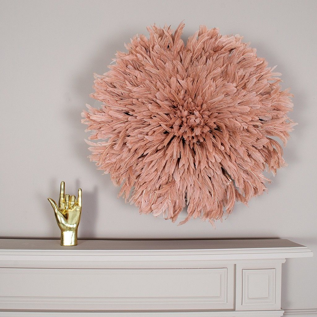 Feather Juju Hat Wall Decor Dusty Peach Juju Hat Feather Wall