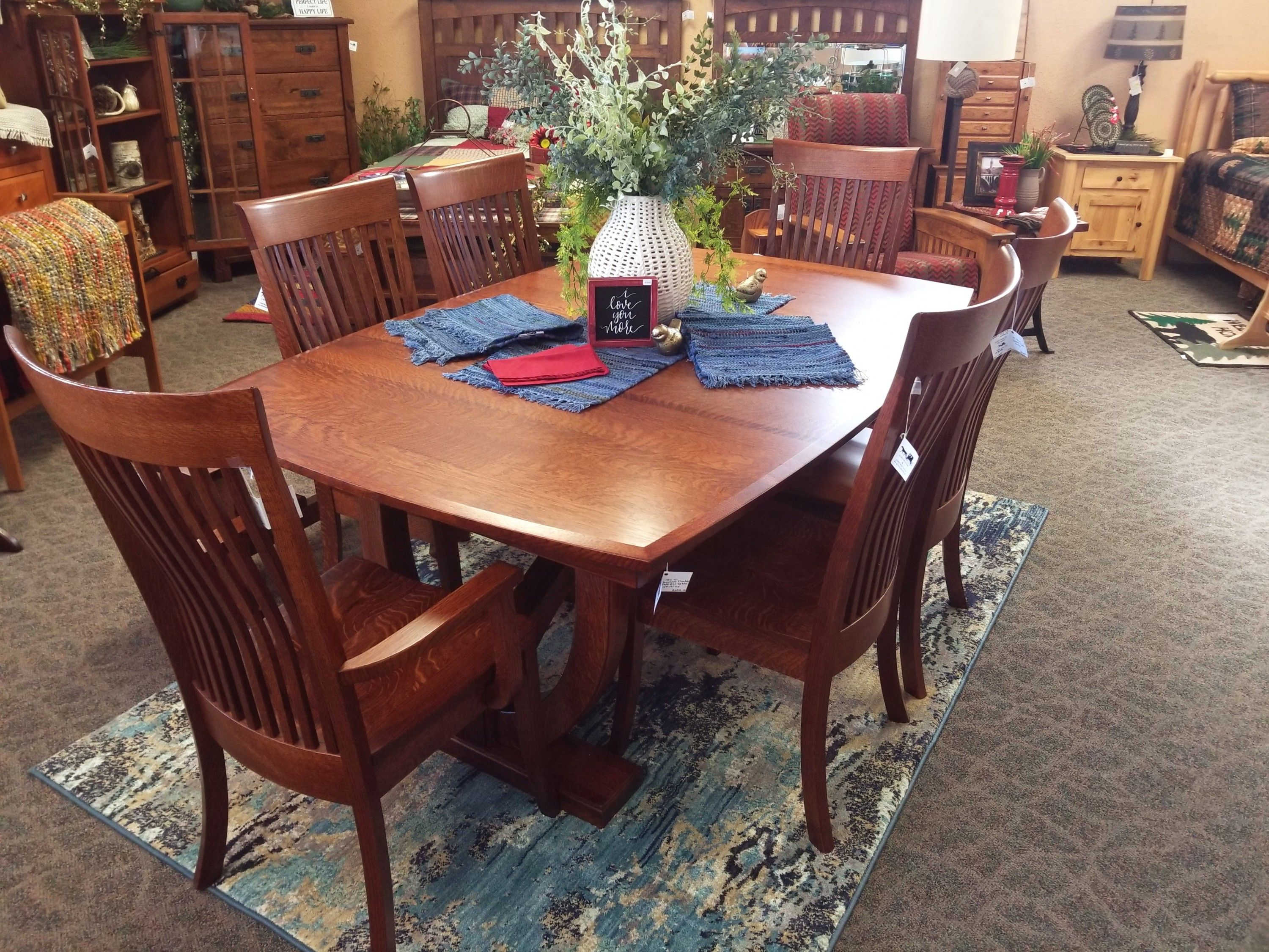Hamilton Dining Set Shown In Quarter Sawn White Oak With A