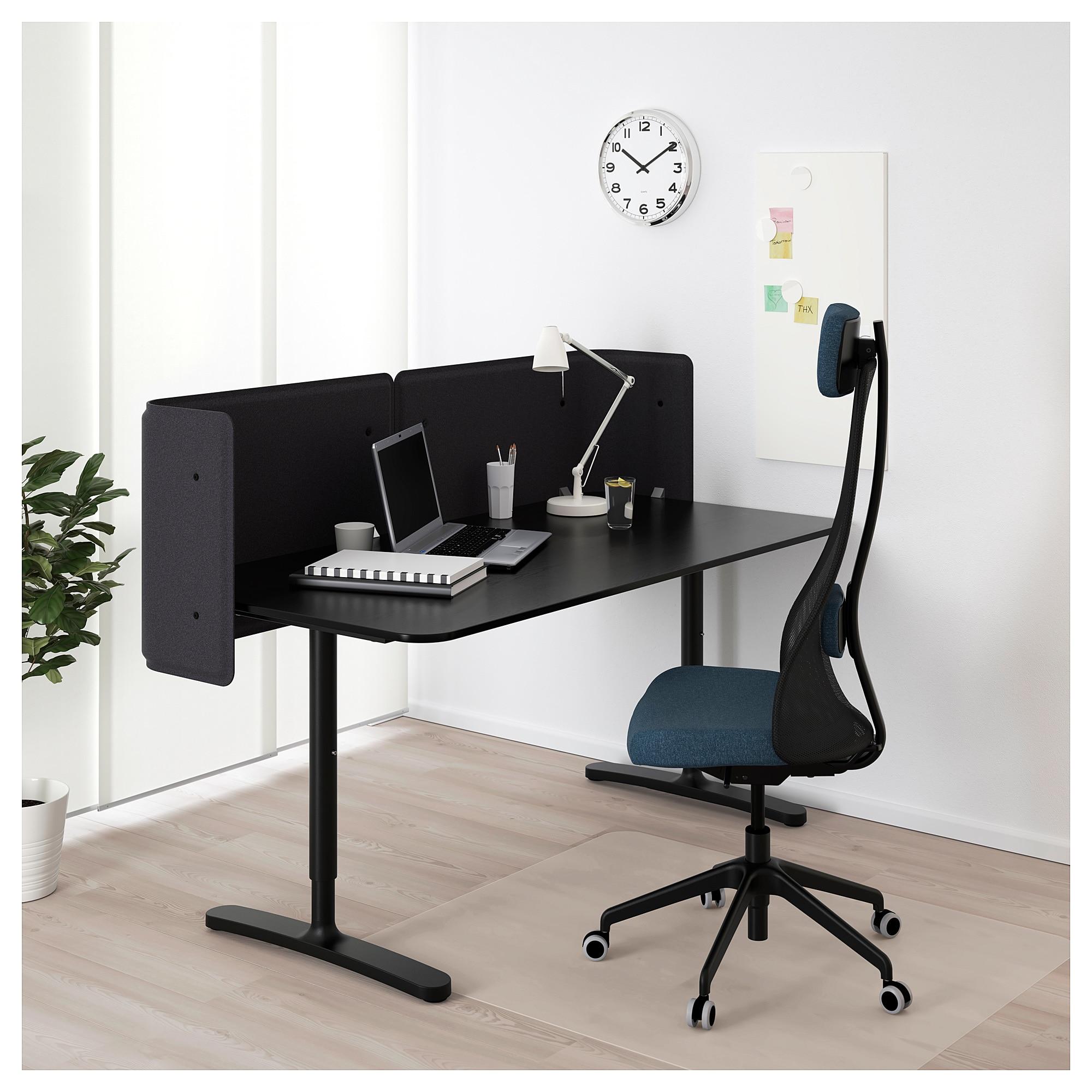 Bekant Empfangstheke Schwarz Gebeiztes Eschenfurnier Ecktisch Schreibtisch Und Ikea Ecktisch