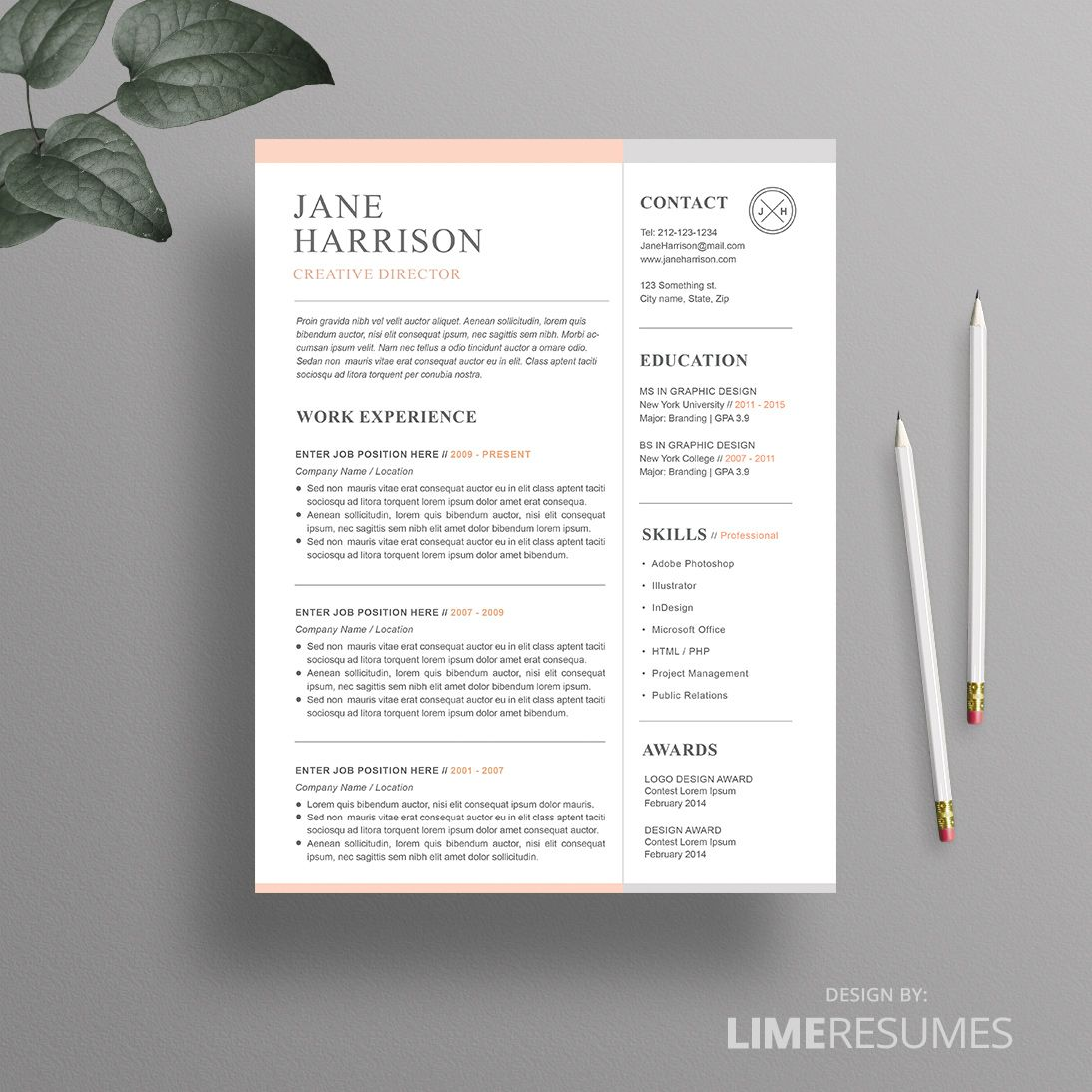 Cool Resume Templates Resume Template  Cover Letter Template For Word  Microsoft Word