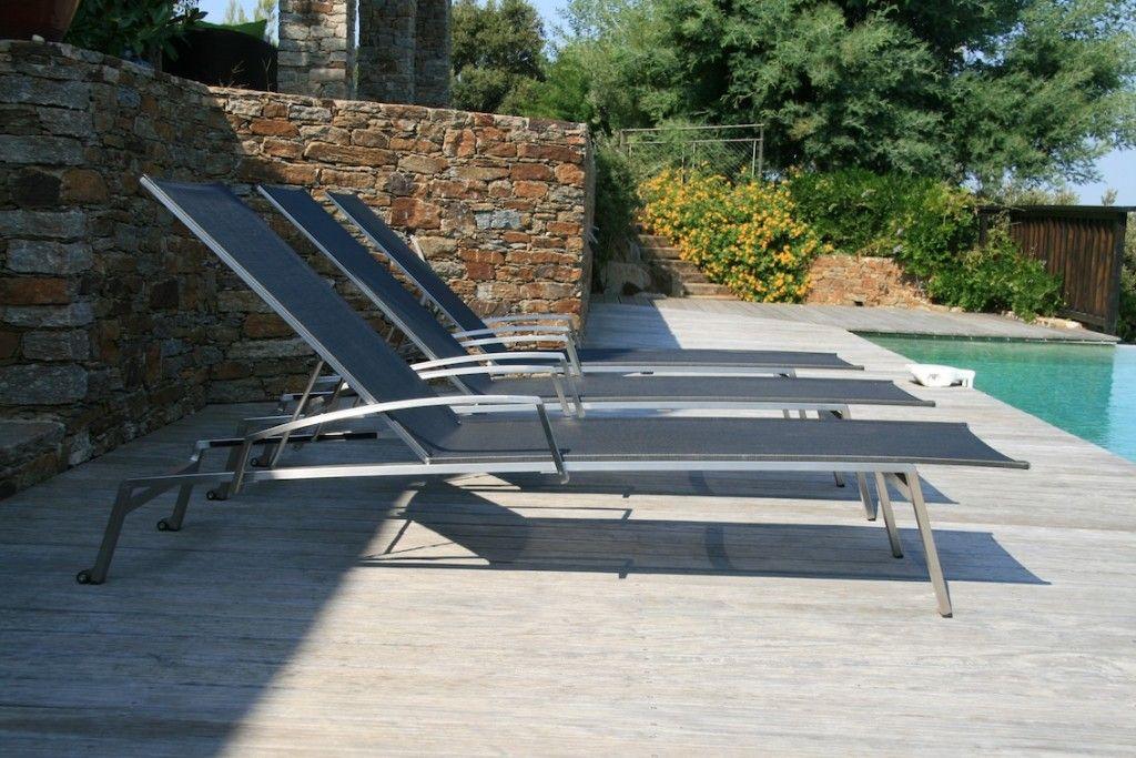 chaise longue transat noir piscine - Chaise Longue Transat