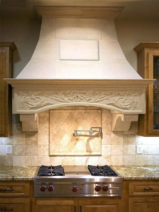 I Just Absolutely Love The Elegant Detailing On This Custom Designed Range Hood My Sister Is Totally Remode Custom Kitchens Design Kitchen Redesign Range Hood