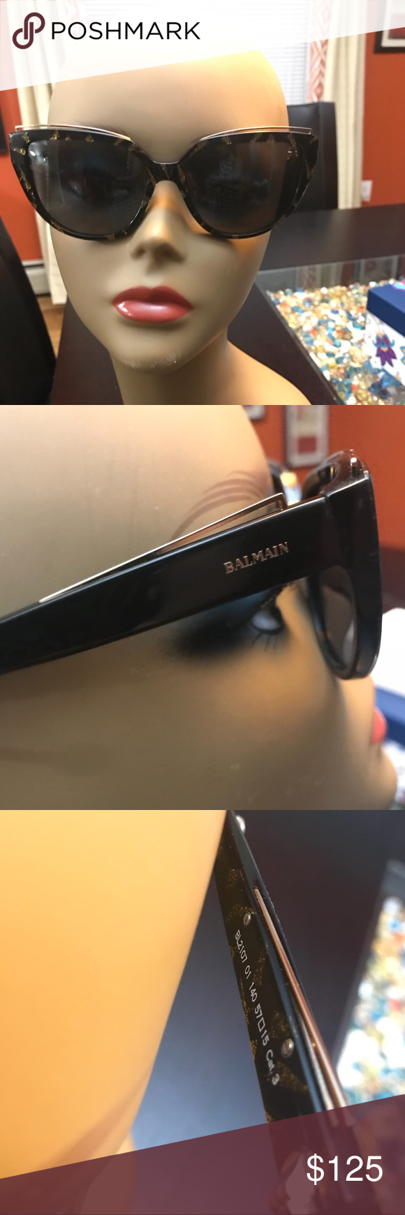 8d3d89860ce 🔥Balmain Black and Gold rounded cat-eye🔥 BL2107 Balmain Black and Gold  Ladies large frames sunglasses! Unique in color and metal detail is a nice  touch!