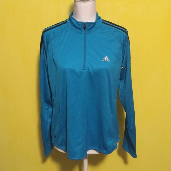 Adidas Climalite pullover Adidas Climalite 1/4 zip pullover, the blue is a prettier blue in person, great used condition with no signs of wear, size women's large and fits true to size, dri fit material, reflective detail on sleeves, super cute, bundle to save ❤️ Adidas Jackets & Coats