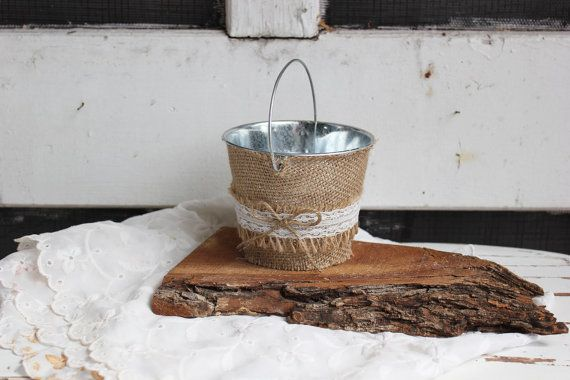 country barn flower girl lace burlap bucket / basket . small metal bucket . ivory lace . shabby chic flower girl basket on Etsy, $24.00
