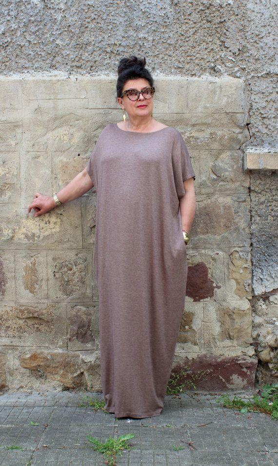 Mocha Plus size Dress , Plus size Maxi Dress , Caftan Dress ...