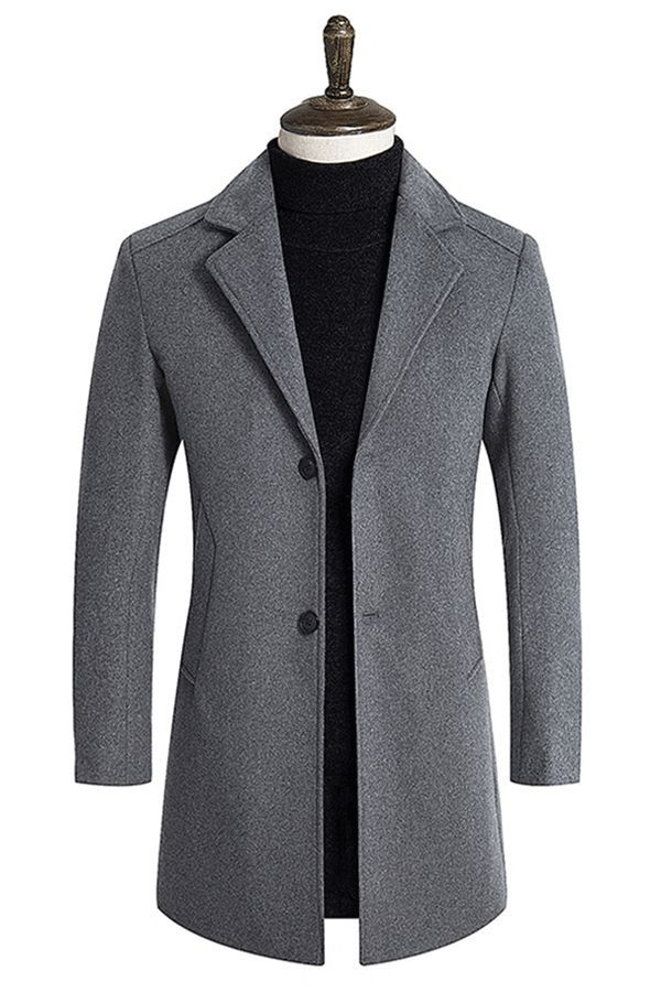857c27b0d Plain Notched Lapel Mid-Length Mens Slim Wool Coat#coat#fashion#mens fashion