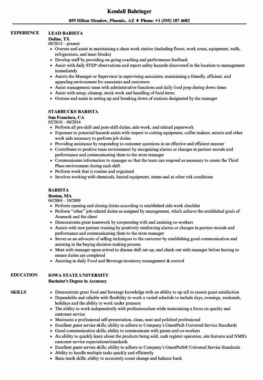 Starbucks Barista Job Description For Resume Luxury 50 Awesome Starbucks Barista Resume Sample Resume Skills Job Resume Samples Resume Examples