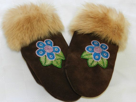 Ladies Beaded Leather Mittens by hummingbirdcreation1 on Etsy, $134.99