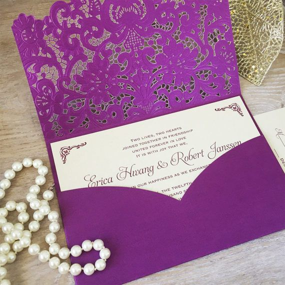 erica purple laser cut pocket wedding invitation champagne gold invitation inserts plum purple - Wedding Invitations Purple