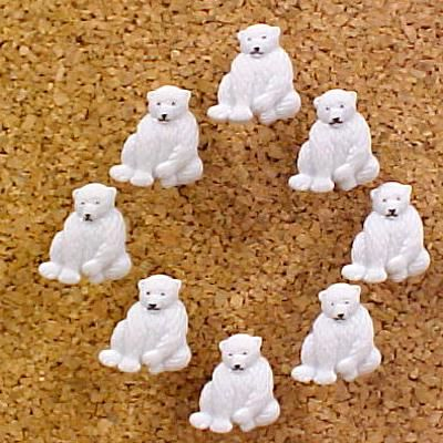 Polar Bears Decorative Push Pins (8)