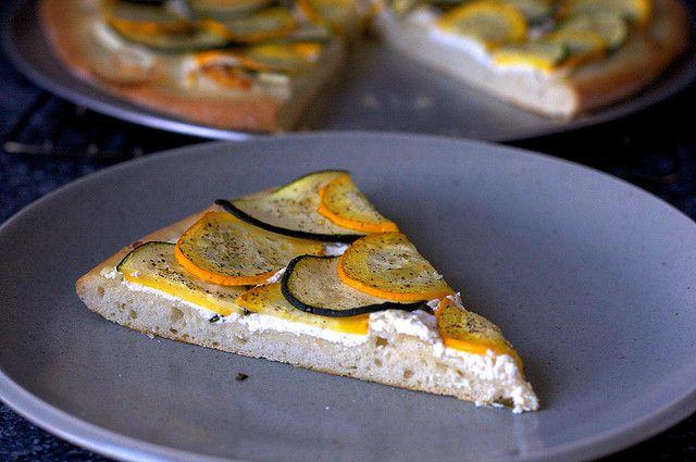 lemony zucchini goat cheese pizza   Pinterest