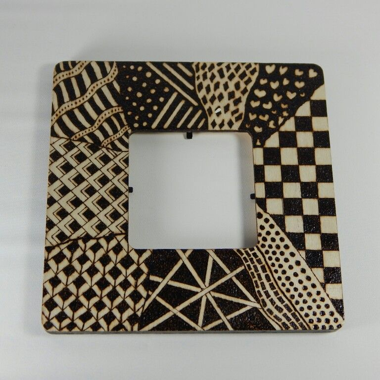 Hand Made Picture Frames Zentangle Pyrography Wood Burn Zentangle
