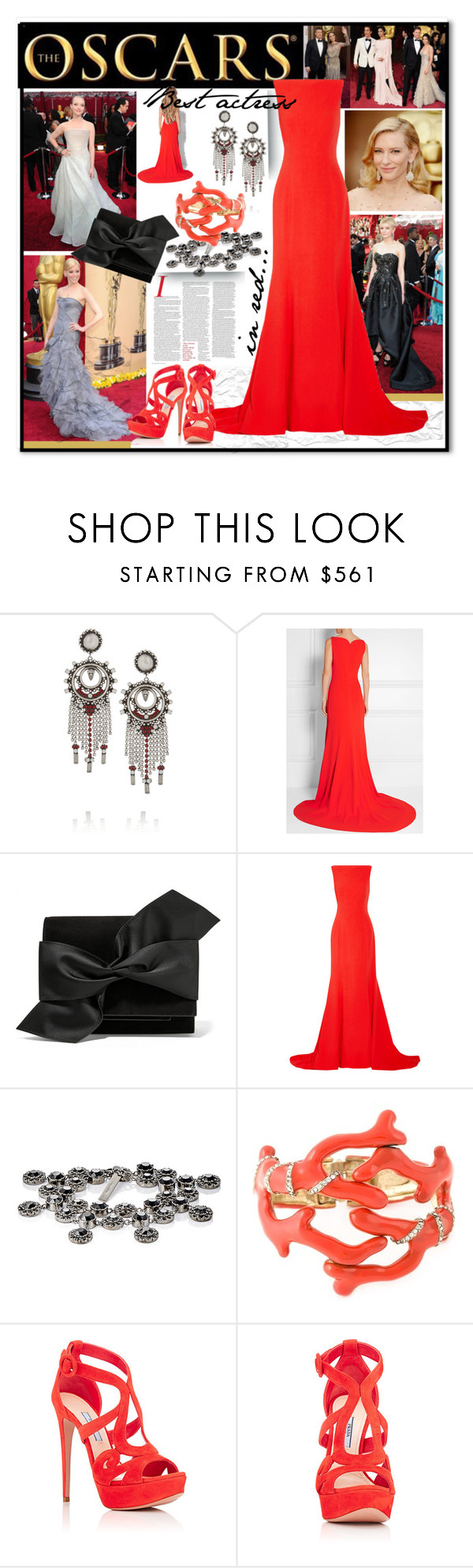 """InRed"" by andrea2andare ❤ liked on Polyvore featuring DANNIJO, Oscar de la Renta, Victoria Beckham, Givenchy, Prada, polyvoreeditorial and oscarfashion"