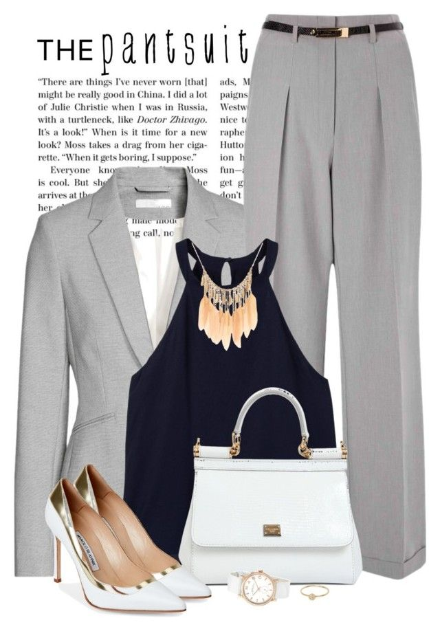 """""""The pantsuit"""" by yonnama ❤ liked on Polyvore featuring Jakke, Miss Selfridge, MANGO, Dolce&Gabbana, Manolo Blahnik, Anine Bing, Marc by Marc Jacobs and thepantsuit"""