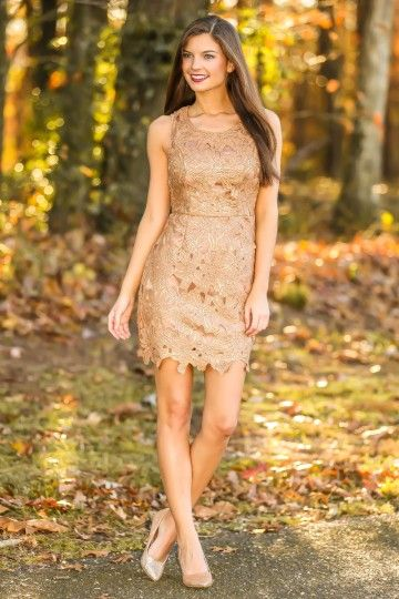 Hello Gorgeous! Stunning gold dress with lace overlay! Sheer perfection! Must have! Repin it if you love it!