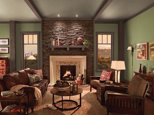 Warm Green Color Possibility Family Room Colors Living Room Colors Country Living Room