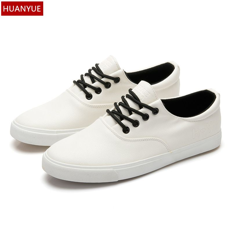 0bf23f9bfde7 HUANYUE New 2017 Fashion Men s Vulcanize Shoes Quality PU Leather Footwear  Lace Up Breathable Men Casual
