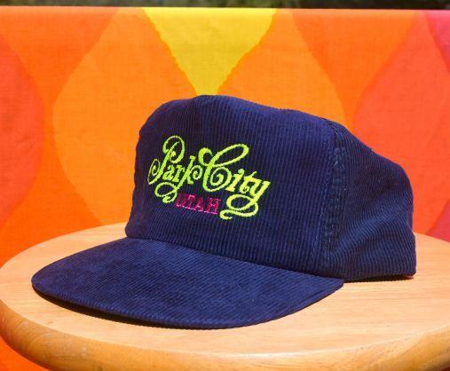 034c358f0b7f46 vintage 70's corduroy hat PARK CITY utah ski trucker neon snapback cord baseball  cap vail 80s at SkippyHaha.com