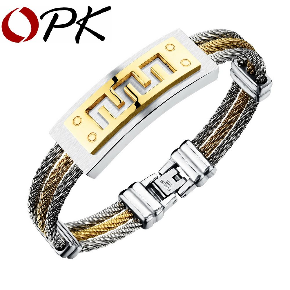 Opk three layers man bangles punk style silvergold color stainless