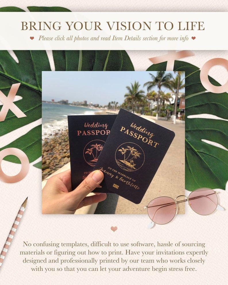 Beach Wedding Passport Save the Date Destination