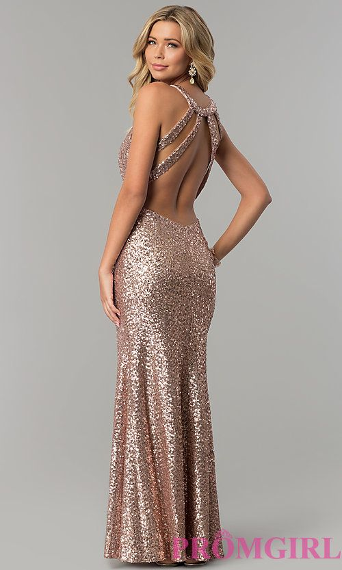 Image of long sequin prom dress with caged-style open back. Style ...