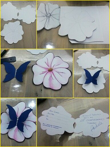Biglietto invito con farfalla su fiore