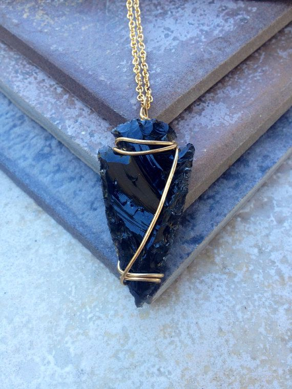 OBSYDIA // Wire Wrapped Black Obsidian Arrowhead on Gold Chain ...