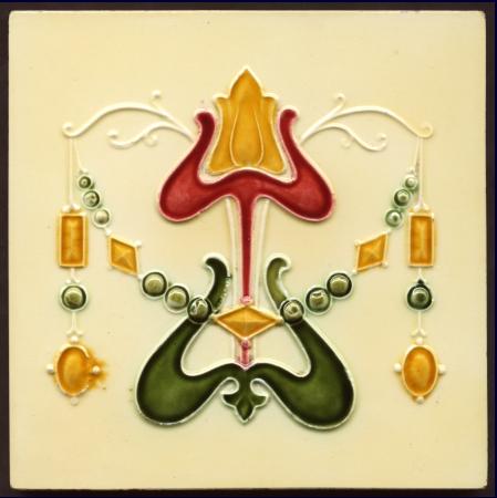Art Nouveau Majolica Tile - Date: circa 1907