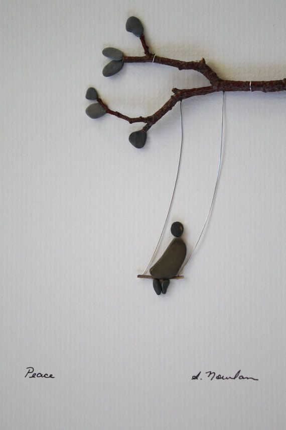 CHILD SWINGING! Pebble Art of Nova Scotia by Sharon Nowlan by PebbleArt on Etsy