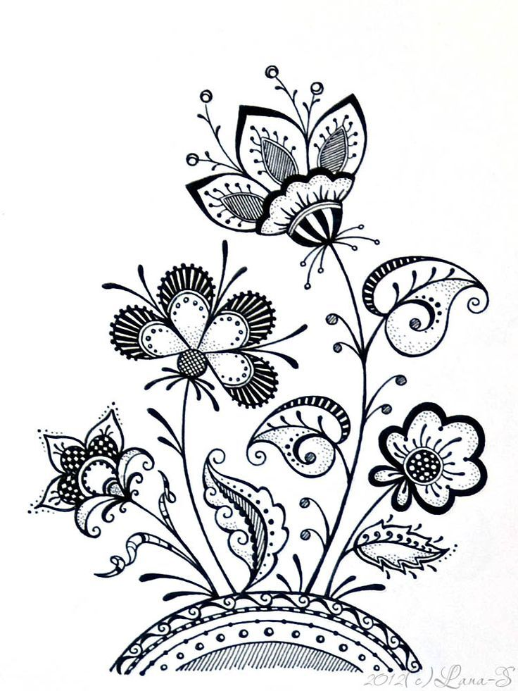 Flowers and Butterfly Flower doodles Flower drawing