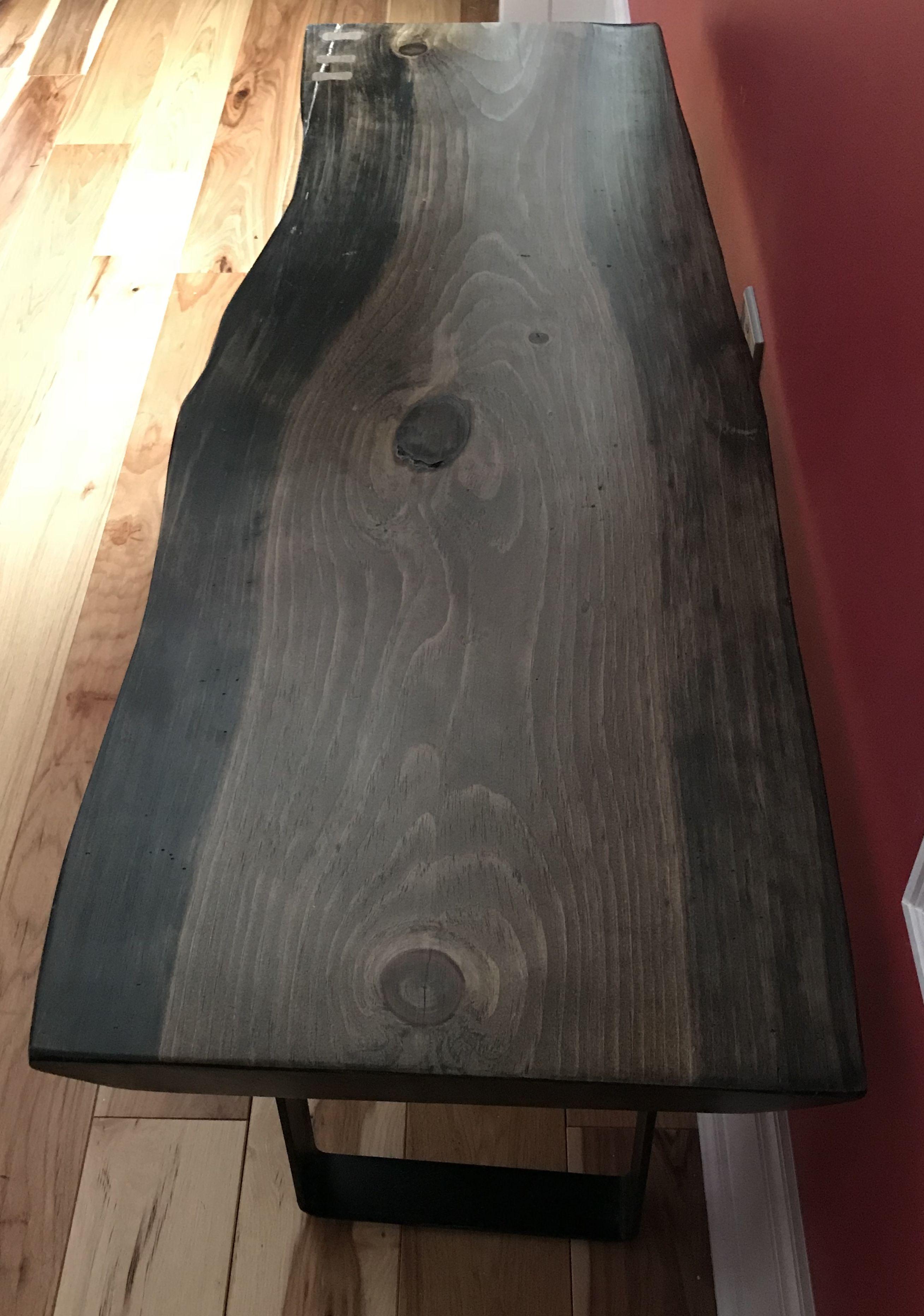 Live Edge Spaulted Pine Coffee Table With Black Steel Legs