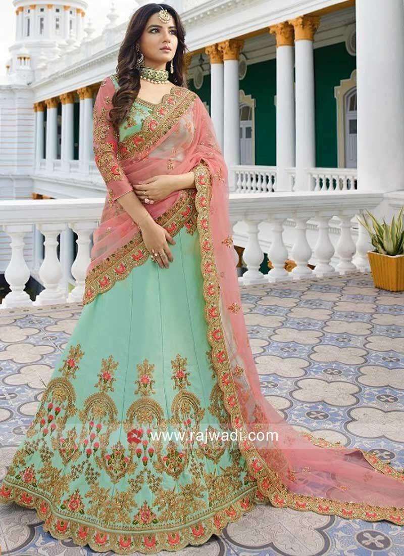 497d817904 Silk Pista Green Wedding Lehenga Set. #rajwadi #lehengacholi #weddingseason  #weddingdress #embroidery #lehenga #ethnicwear #bridalwear #designerwear #  ...