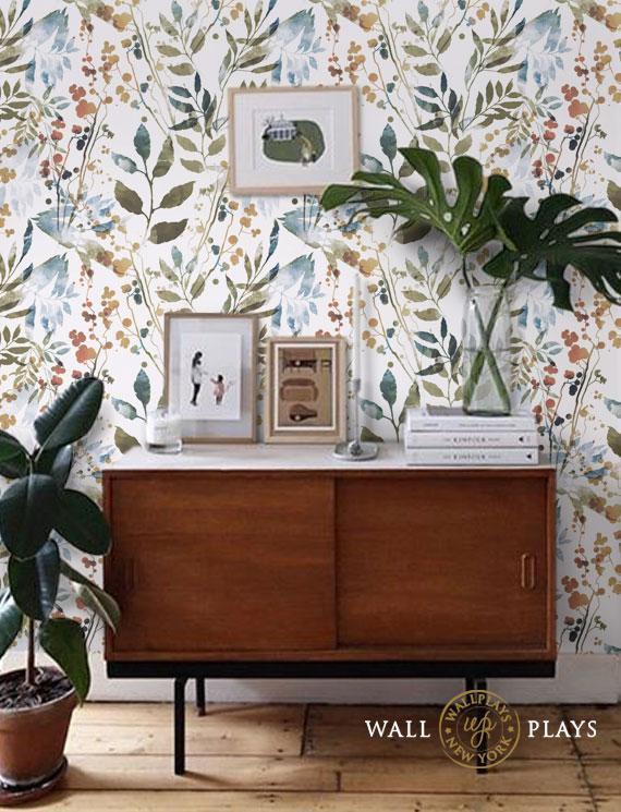 Herb Leaves Watercolor Removable Wallpaper Peel Stick Repositionable Fabric Removable Wallpaper Unique Home Decor Home Decor