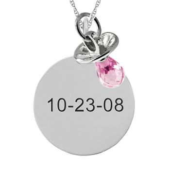 This Simple Engravable Mother-Family Gemstone Pendant with Dangling Pacifier Charm can be personalized with 1 brilliant gemstone. Sku: ME-F428 Price : $181.99