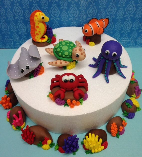 Fondant Sea Animals Complete 3D Cake Topper Set Turtle Sting Ray